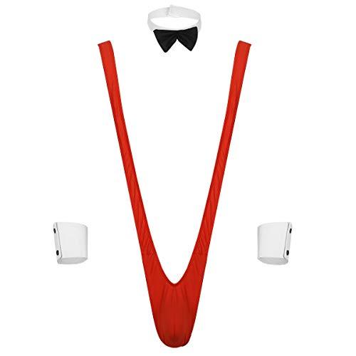 TiaoBug 3Pcs Disfrfaz Borat Mankini Devertido Hombres para Carnaval Despedida de Solteros Bodysuit Thongs de Cabestrillo Baador Estilo en V Sexy Negro One Size