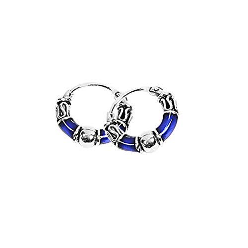 NKlaus PAAR 925 PLATA DE LEY Celta Bali Creoles s Azul Oscuro 12mm 7103