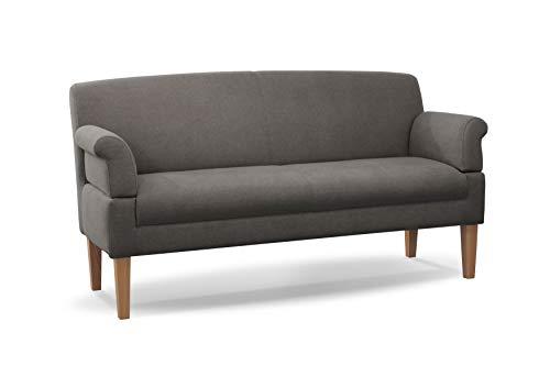 CAVADORE 3-Sitzer Küchensofa Malm, Sitzbank für Küche oder Esszimmer inkl. Armteilverstellung, Leichte Fleckenentfernung dank Soft Clean, 182 x 97 x 78, Flachgewebe: grau