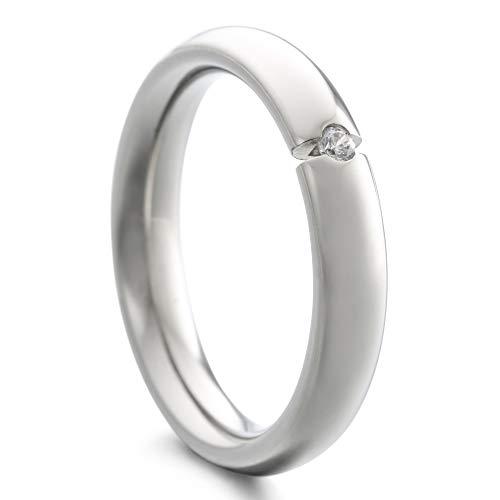 Heideman Ring Damen Paari aus Edelstahl Silber Farben matt oder poliert Damenring für Frauen mit Swarovski Zirkonia Weiss als Brillant im Brillantschliff Crystal Gr.64 hr7024-3-1-64