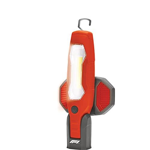 KEINEMARKE 10822 Lámpara de Trabajo COB LED, 600 lúmenes, Recargable con USB, con Gancho para Colgar, magnética, para Coche, Taller, Rojo y Negro