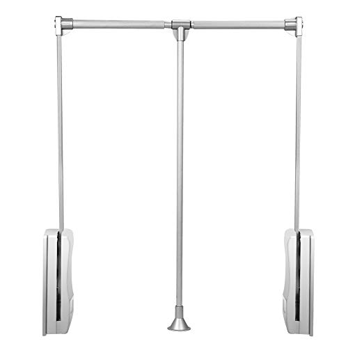Gimify Pull Down Closet Rod, Wardrobe Lift Rail Organizer Storage System Closet Hanger Rod for Hanging Clothes Space Saving Aluminum Adjustable (33-45.3 inch)