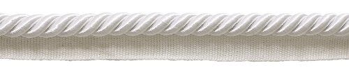 DÉCOPRO 10 Yard Value Pack of Large 3/8 inch Basic Trim Lip Cord, Style# 0038S, White - A1