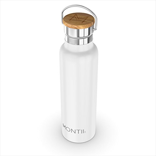 Montii - Botella de agua de acero inoxidable aislada, 600 ml, color blanco