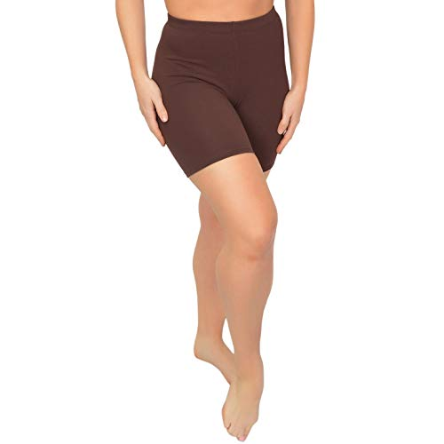 Stretch is Comfort Women's Cotton Stretch Workout Biker Shorts Large Brown