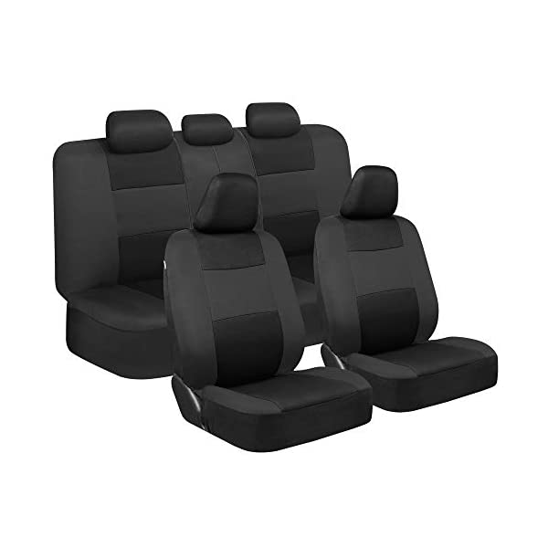 BDK PolyPro Car Seat Covers, Full Set in Black on Charcoal – Front and Rear Split...