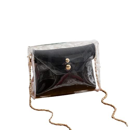 Living Traveling Share Bolso Transparente Bolso Bandolera Monedero Transparente Bolso de Hombro con Cadena para Mujer Bolso de Mano Clutch con Cadena Satchel Shoulder Bag Transparente (Negro)