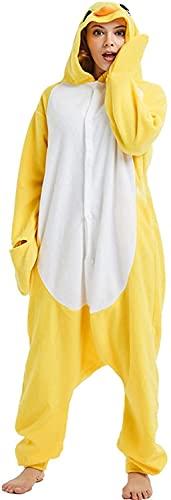 BAOFUR Pijama para adultos con diseño de pollitos amarillos, para hombre, Halloween, cosplay, Navidad, ropa para el hogar, mono para mujer (color: amarillo, tamaño: M)