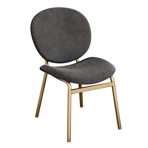 Coiffeuse Tabouret Avec Dossier Chaise ergonomique à manger, chaise de maquillage dossier, chaises modernes loisirs Côté, Jambes Fer et haute densité Rebond éponge, Café Dressing Room Cuisine Bureau B