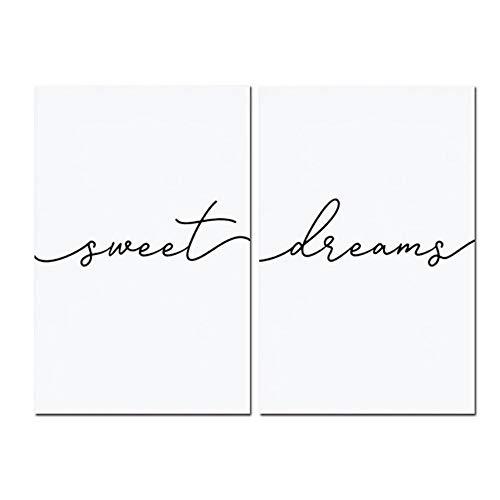 """NO BRAND Cuadro en Lienzo Poster Nursery Print Sweet Dreams Arte de Pared para guardería Infantil o Dormitorio Principal Decoración Imagen 50x70cm (19.7""""x27.6) x2Sin Marco"""