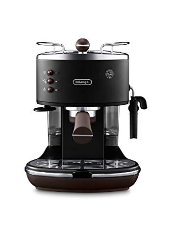 De'Longhi Icona Vintage Espresso Siebträgermaschine KBOV2001.BK - mit professioneller Milchaufschäumdüse, 15 bar, 1,4 l, auch für Pads geeignet, Edelstahl in Retro Look mit Chrom-Details, schwarz