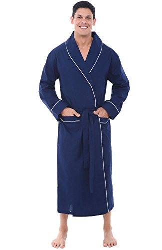 Alexander Del Rossa Mens Lightweight Cotton Robe, 2XL Navy Blue (A0715MBL2X)