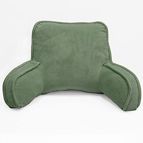 """Bytide Super Soft Backrest Reading and Bed Rest Pillow with Arms and Pockets, 20"""" x 18"""" x 17"""", Sage"""