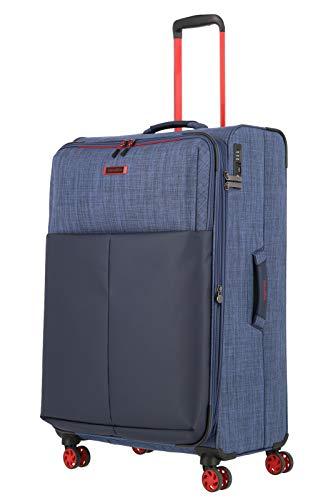 travelite 4-Rad Koffer Größe L mit TSA Schloss + Dehnfalte, Gepäck Serie PROOF: Weichgepäck Trolley in frischen Kontrastfarben, 092349-20, 78 cm, 94 Liter (erweiterbar auf 100 Liter), marine (blau)