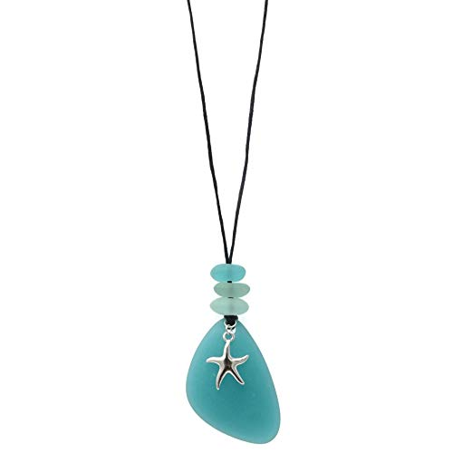 Elosee Seaglass Sealife Theme 30' Black Wax Cord Necklace (Sea Blue - Star Fish)