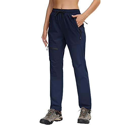 Butrends Pantaloni da Escursionismo da Donna Pantaloni da Trekking Impermeabili da Campeggio ad Asciugatura Rapida Protezione UV con Tasche con Cerniera