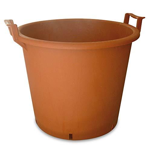 Vaso Mastello Color Terracotta Professionale per Piante da Giardino, Orto, Vivaio, Edilizia - Resistente in polietilene ad alta densità (HDPE) - Vasi con Manici - Mastellone (50Lt, ø 50cm, h.41cm)
