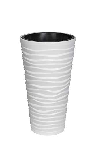 XXL Pflanztopf der in moderner Wellen Optik mit herausnehmbaren Einsatz. Aus robustem Kunststoff in Alpinweiß. Maße Ø x H in cm: 39 x 75 cm