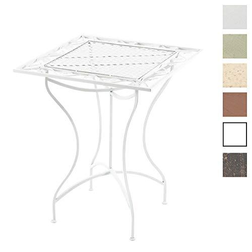 CLP Eisentisch ASINA im Jugendstil I Robuster Gartentisch mit kunstvollen Verzierungen, Farbe:weiß