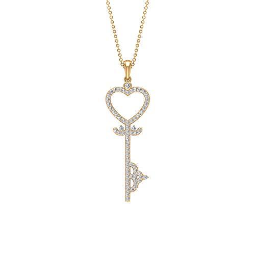Vintage stil öppet hjärta HI-SI certifierat diamanthänge, kärlekshjärta nyckel massivt guld 3/4 karat diamanthänge halsband, graverat löfte hänge set e gul-guld, colore: gUL, cod. RCPE082019342