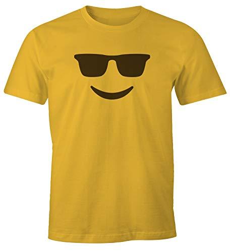MoonWorks® Camiseta para hombre con emoticonos, disfraz de grupo, carnaval, despedida de soltero, divertida camiseta Emoticon - Gafas de sol, color amarillo XXL