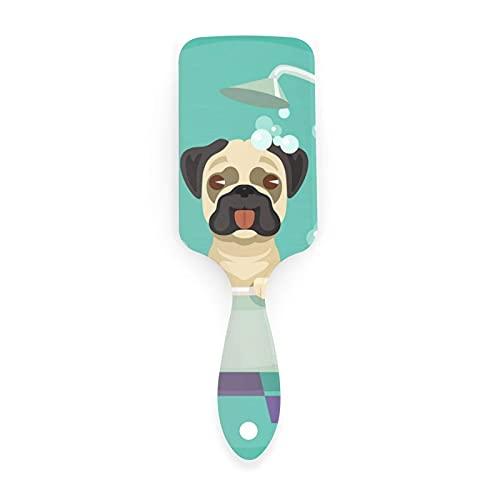 Lsjuee Perro Pug en la bañera Champú Pato de goma Mascotas en el cepillo de pelo de dibujos animados, Cojín de aire de masaje Peine antiestático contra el encrespamiento para hombres Mujeres Cabello h
