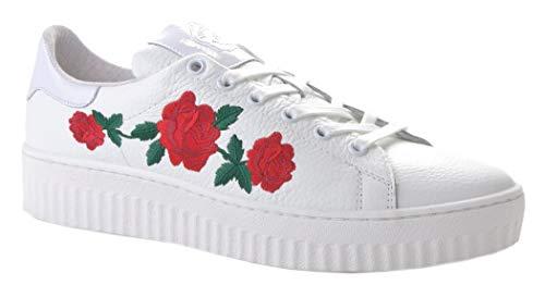 Damen Sneaker mit rotem Rosen-Muster Echtleder weiß chic NEU TOP bequem ausgefallen Größe 40
