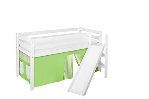 Lilokids Spielbett JELLE 90 x 190 cm Grün Beige - Hochbett weiß - mit schräger Rutsche und Vorhang