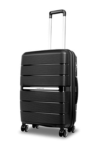 Vienna Durable Hard Shell Luggage (Black) 24 Inch Expandable Medium Spinner Suitcase, 61 cm, 4 Wheels, M Suitcase with a 5 Year Warranty