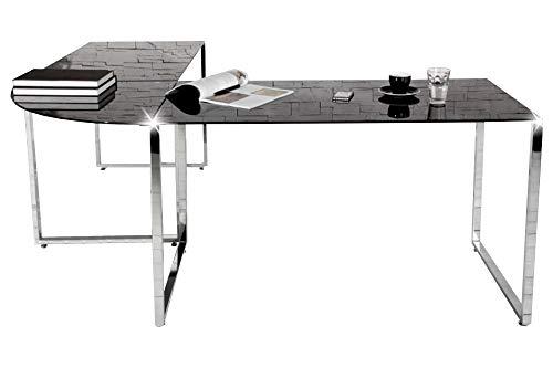 Eckschreibtisch schwarz Glas Schreibtisch Office Design Büro Möbel Tisch Chrom