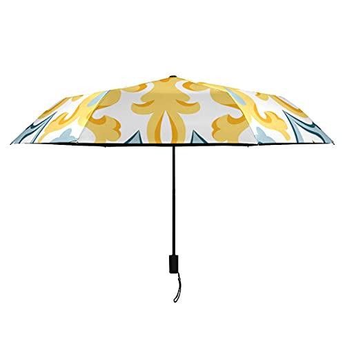 Paraguas para niños, flores y azulejos marroquíes, paraguas para mujer, resistente al viento, portátil, ligero, resistente al viento, para hombres, paraguas pequeño, lluvia, ideal para mujeres