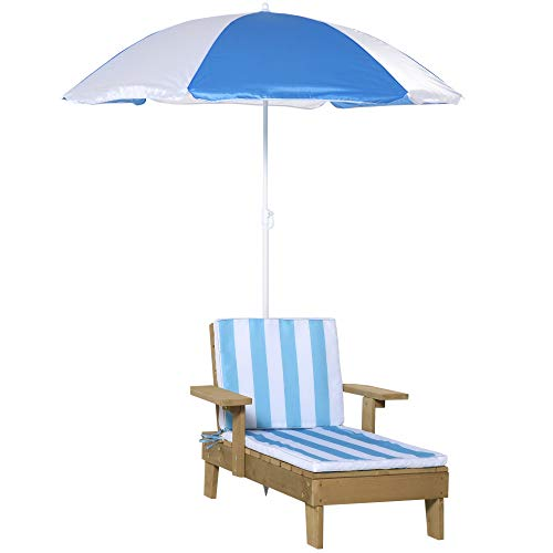 Outsunny Wooden Kids Lounge Chaise with Foldable Adjustable Parasol Cushion Outdoor Patio Garden Furniture Blue 90 x 59 x 53cm
