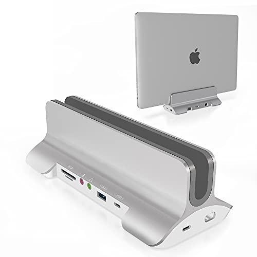 USB C Docking Station Doble Monitor con Soporte, 12 en 1 HDMI, VGA, USB 3.0 (3), USB-C (1), SD / TF, PD 60W, RJ45 Ethernet, 3.5 mm de Audio + micrófono, Soporte Vertical para USB C Laptops