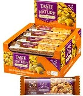 Taste of nature - Confezione da 8 barrette di cioccolato scuro al arachidi al caramello biologico, 40 g per barretta, conf...