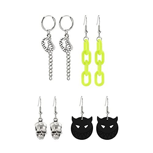 #N/D Orecchini in stile dolce con teschio scuro a forma di testa orecchini divertenti gotico Halloween punk orecchini accessori