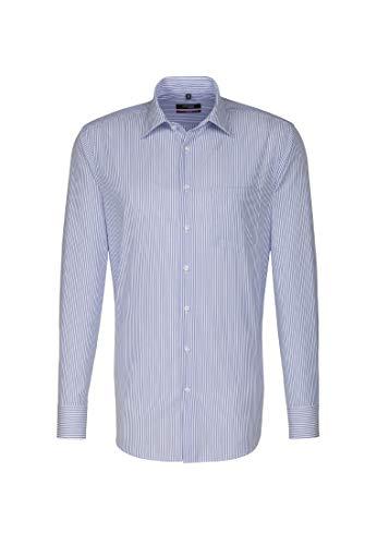 Seidensticker Herren Business Modern Fit Hemd, Mehrfarbig (15 Streifen weiß blau), 45