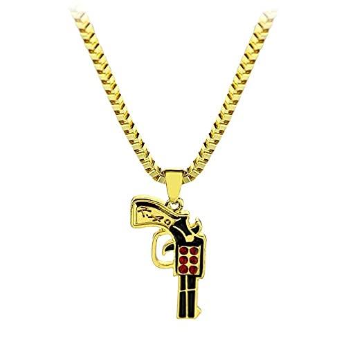 Hip Hop Gun Halskette für Männer Frauen Gold Farbe Ice Out Cz CSGO Charm Anhänger Kubanische Kette Halskette Maxi Uzi Gun Halsketten