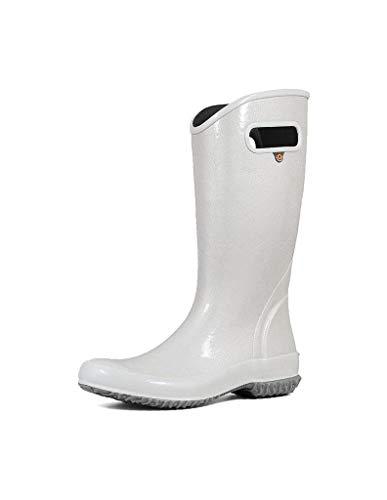 BOGS Women's Rainboot Glitter Print Waterproof Rain Boot, Silver, 8