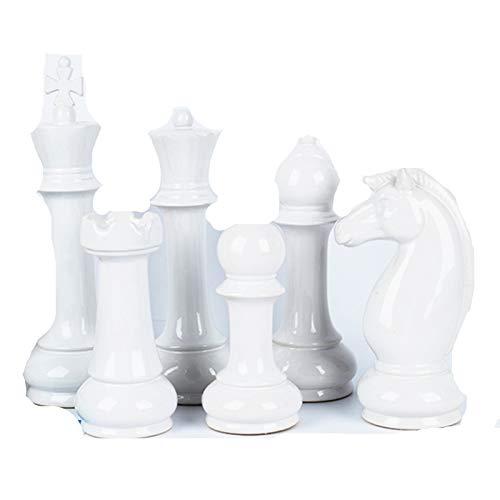 Hwydo Juego de 6 piezas de ajedrez de cerámica para decoración de mesa, color blanco