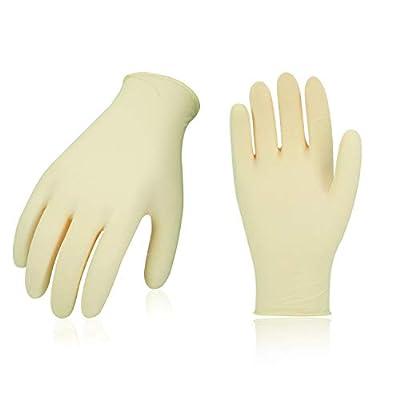 Vgo 100PCS Disposable Latex Powder-Free General Purpose, Foodservice Glove (White,RB5138)