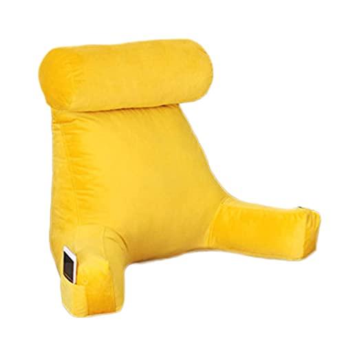 Almohada de Lectura para Reposo en Cama, Cojin Lectura Cama con Reposacabeza, Cojin Almohada de Respaldo con Reposabrazos, Respaldo Cama Nido para Adultos Yadlan Yellow