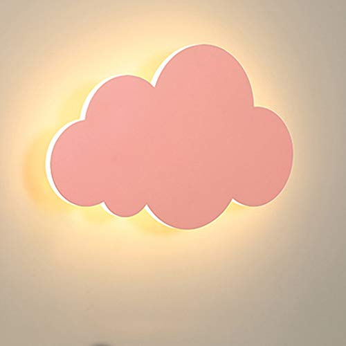 HORKEY Lámpara de pared con forma de nube, para interior moderno, LED, lámpara de pared para niños, pantalla de acrílico con luces LED integradas, color cálido, rosa