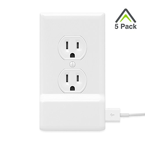 5 Pack SnapPower USB Charger - USB Charger built into an Electrical Cover Plate - Charges all USB Devices - 1 Port Charger Installs in Seconds - FOR OUTLETS - (Duplex, White)