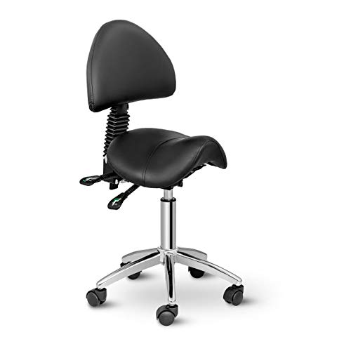 Physa Sattelstuhl Drehstuhl Arbeitsstuhl Berlin Black (PVC-Leder, 360°-drehbar, Gestell aus verchromtem Eisen, komfortable Polsterung) Schwarz