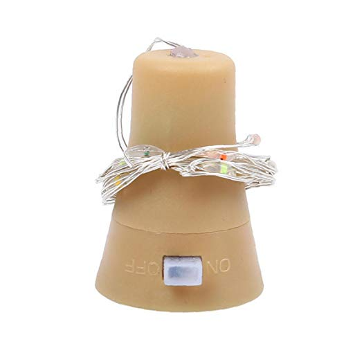 NaiCasy Solar Corcho de la Botella del tapón del Vino Luces solares Cork 10 LED Brillante luz Kit de Alambre de Cobre Color de Fondo de lámparas de Interior Partido plástico 6PCS decoración Blanca