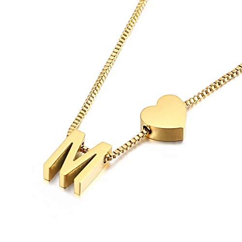 Qings Collana con Pendente Iniziale in Oro, Ciondolo Squisito Lettera A-Z Personalizzato Gioielli Femminili Minimalisti Collana con Lettere M
