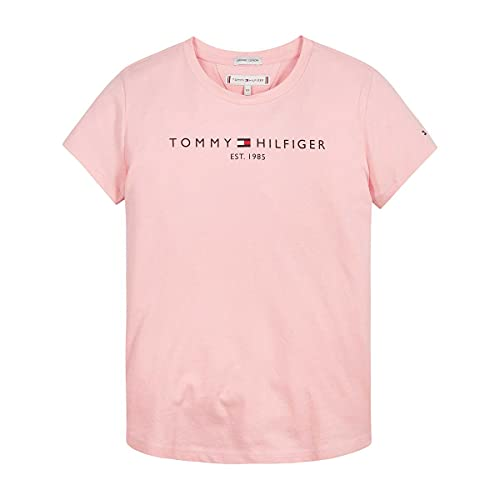 Tommy Hilfiger Essential tee S/S Camiseta, Rosa Delicado, 152 (Talla del Fabricante: 12) para Niñas