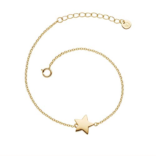 Glanzstücke München Damen-Armband mit Stern-Anhänger Sterling Silber 925 gelbvergoldet - Stern-Armband in Gelbgold-Farben