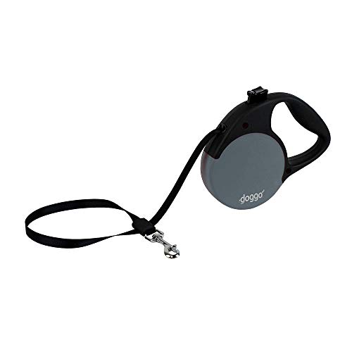 Doggo Everyday Retractable Dog Leash, 13' Long Belt, Small for Dogs Up to 45 lbs, Grey with Black Soft Grip Handle