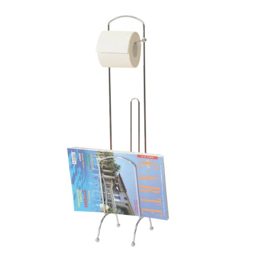 axentia WC-Papierrollenständer Silber, verchromt, WC-Papierrollenhalter mit Ersatz-Rollenablage und Lektürenablage, Höhe: ca. 67 cm